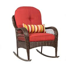 Best Choice Products Outdoor Wicker Rocking Chair For Patio, Porch, Deck,  W/ Weather-Resistant Cushions - Red Charleston Acacia Outdoor Rocking Chair Soon To Be Discontinued Ringrocker K086rd Durable Red Childs Wooden Chairporch Rocker Indoor Or Suitable For 48 Years Old Beautiful Tall Patio Chairs Folding Foldable Fniture Antique Design Ideas With Personalized Kids Keepsake 3 In White And Blue Color Giantex Wood Porch 100 Natural Solid Deck Backyard Living Room Rattan Armchair With Cushions Adams Manufacturing Resin Big Easy Crp Products Generations Adirondack Liberty Garden St Martin Metal 1950s Vintage Childrens