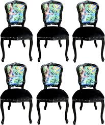 casa padrino luxury baroque dining room set comic multicolor black 55 x 54 x h 103 cm 6 handmade dining chairs designer chairs baroque dining