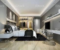 3d rendering luxus modernen schlafzimmer suite tv mit schrank und zu fuß im schrank stockfoto und mehr bilder architektur