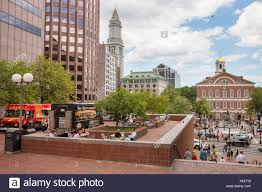 Food Trucks Customers Faneuil Boston MA USA Massachussets Stock ...