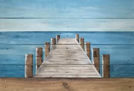 Pier At The Beach Painting On Reclaimed Pallet Boards