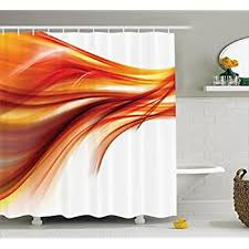 Orange Shower Curtain Set Abstract Home Decor By Ambesonne Modern Contemporary Abstract Smooth Lines Blurred
