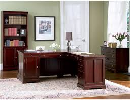 4 piece l shaped desk home office executive set in rich cherry