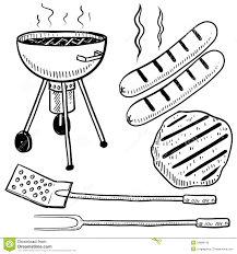 Backyard barbecue equipment sketch