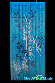 blue beaded curtain painted scene blue background curtain with