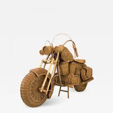 100 Harley Davidson Lounge Chair 1960s Lifesize Woven Rattan Motorcycle