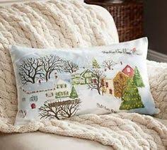 Pottery Barn Decorative Pillows Ebay by Winter Village Scene Print Pillow Cover Benefiting Give A Little