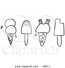 Royalty Free RF Clipart Illustration of a Digital Collage Black And White Ice Cream And Popsicles by Prawny