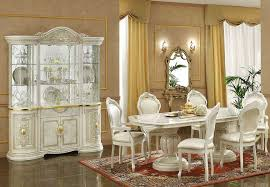 Ivory Italian Classic Dining Table Chairs Set In