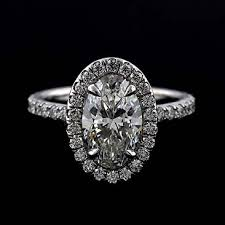 Platinum Diamond Oval Halo Modern Style Engagement Ring Mounting
