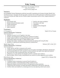 Automotive Technician Resumes Resume Amazing Examples Objective No Experience Auto Entry Level Sample