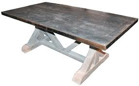 Charming Zinc Kitchen Table Dining Tables Astounding Gray Rectangle Rustic Wooden Top Stained