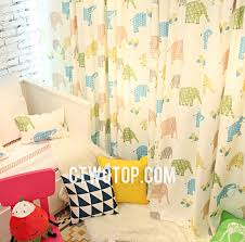 Yellow And White Curtains For Nursery by Colorful Elephant Cute Unique Affordable Nursery Kids Curtains