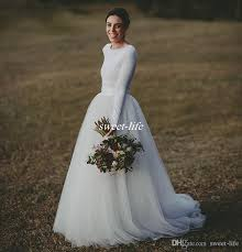 Discount Elegant Long Sleeve Country Wedding Dresses Ivory Two Piece