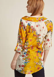 pastoral and present cotton tunic in mustard modcloth