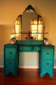Waterfall Vanity Dresser Set by Art Deco Waterfall Vanity Painted In Duck Egg Blue With Lace
