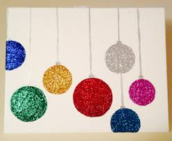 Christmas Canvas DIY Decorations Use Foam Balls Cover In Modpodge And Then Coat With Glitter