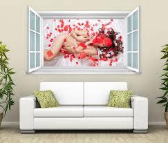 3d wandtattoo fenster frau po blumen rot erotik wand aufkleber wanddurchbruch wandbild wohnzimmer 11bd1425 3dwandtattoo24 de