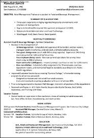 Sample Resumes For Hospitality Industry Trainee Hotel Manager Resume Sales Management Samples