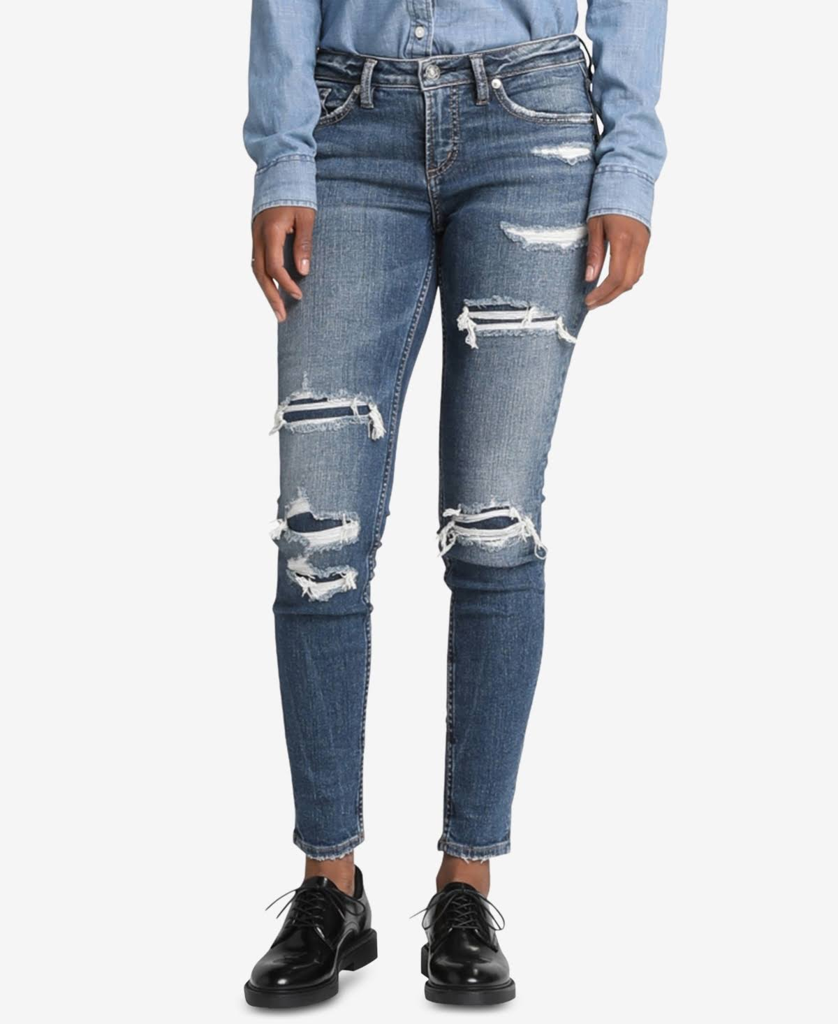 Silver Jeans Co. Aiko Destructed Skinny Jeans - Indigo 31 29