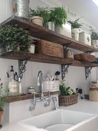 Rustic Wooden Kitchen Shelves With Potted Ferns