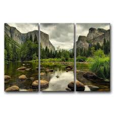 Amazon 3 Pieces Green Wall Art Painting Yosemite National Park Clear Water Lake Mountain Trees Rocks Pictures Prints On Canvas Landscape The Picture