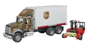 100 Ups Truck Toy Mack UPS Freight With Forklift Vehicle By Bruder S