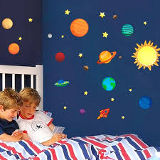 Solar System Bedroom Decor New Creative Wall Stickers Plane Paper Kids