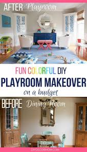 Colorful Blue And White Playroom Decor Before After