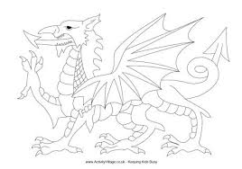 Welsh Flag Colouring Page 15 Dragon