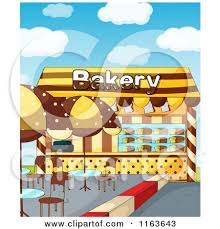 Cartoon of a Bakery Building with Outdoor Tables Royalty Free Vector Clipart by Graphics RF