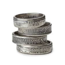 State Quarter Ring Coin Jewelry Copper Nickel Mens Clothes