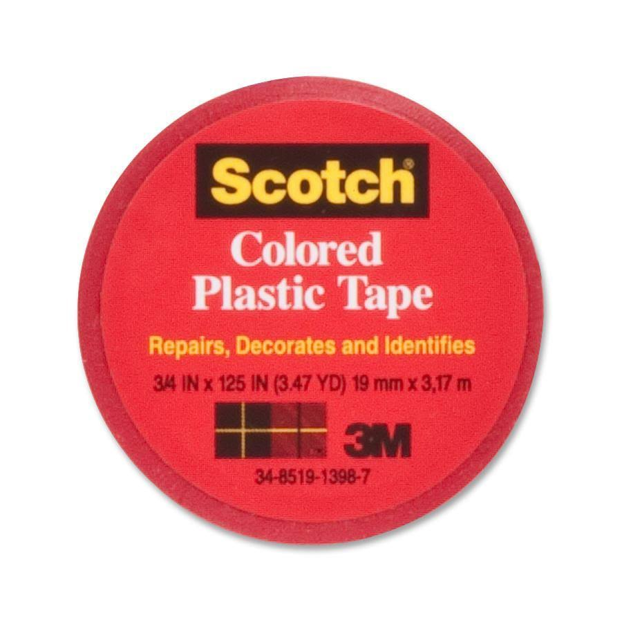 "3M Scotch Colored Plastic Tape - 125"" Length x 3/4"" Width, Red"