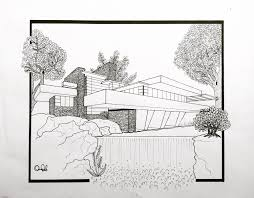 100 Frank Lloyd Wright Sketches For Sale A Drawing Of S Fallingwater 14 X 17 Ink On