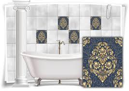 fliesen aufkleber fliesen bild blumen blätter nostalgie floral blau gold bad wc deko