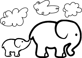 Baby Elephant And Adult Coloring Page Wecoloringpage With