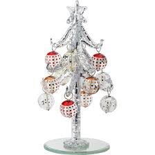 LS Arts 6 Inch Speckle Silver Glass Tree With Ornaments
