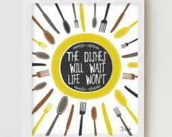 Kitchen Print YELLOW Decor Digital Wall Funny Quote