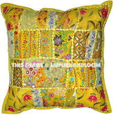 yellow 24x24 indian patchwork pillow cover designer bohemian pillows