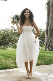 High Low Ivory Strapless A Line Tulle Chic Wedding Dress