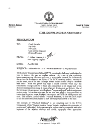 Ky Transportation Cabinet District 6 by Appendix F Kentucky Transportation Cabinet Memorandum On