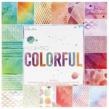 H2Oh So Colorful 12x12 Scrapbooking Paper Pad Watercolors Geometrics Scallops