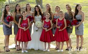 wedding party grey bridesmaids dresses red flower dresses