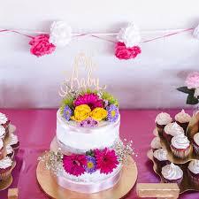 Gender Reveal Cake Baby Shower Oh Topper Girl Boy Rustic Wooden Glitter