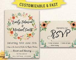 Printable Wedding Invitation Template Invitations Set Rustic Invites Download