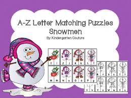 A Z Letter Matching Puzzles Snowmen by Kindergarten Couture