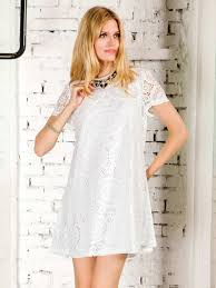 white lace short sleeve a line dress thanks giving day limited