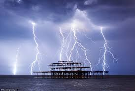 Lightning Strikes The Sea Around Wreckage Of Brightons West Pier Last Night Just Hours