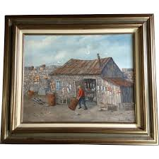 Decorative Wooden Lobster Trap by Louis F Pelky 1921 2015 Art Oil Painting Old Fishing Shack