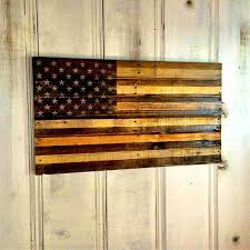 Rustic American Flag Two Tone Wood Wall Art